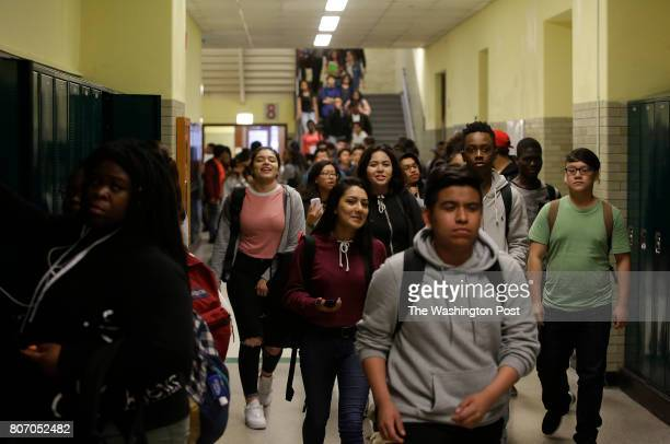 Students walk through the hallway after classes were dismissed at Senn High School on Wednesday May 10 2017 in Chicago Illinois Mayor Emanuel is...