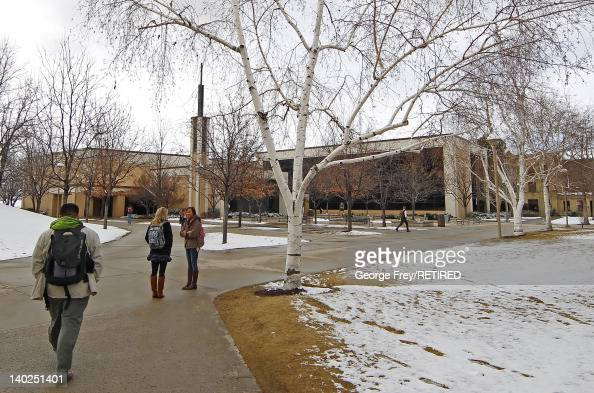 Students walk to the Joseph Smith Building where religious classes are taught on the campus of Brigham Young University on March 1 2012 in Provo Utah...