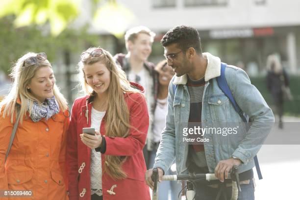 Students walking outside university
