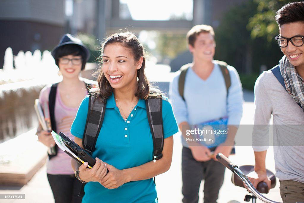 Students walking together outdoors