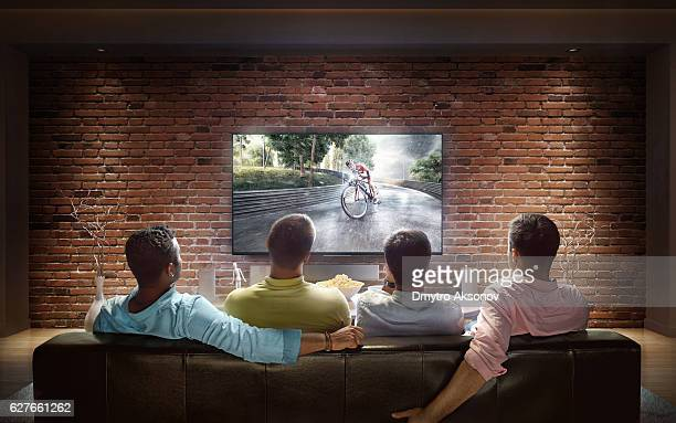 Students watching Bicycle race at home