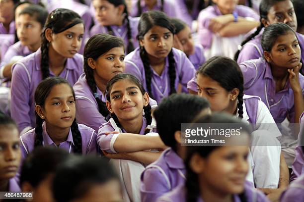Students watching live telecast of Interaction session of the Prime Minister Narendra Modi with school students on the eve of Teachers Day on...