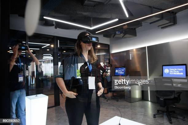 Students wear virtual reality headsets at the Facebook Inc Hack Station in Sao Paulo Brazil on Monday Dec 11 2017 The Facebook Hack Station is the...