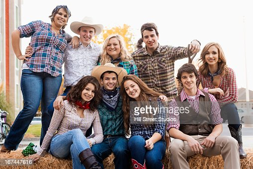Students wearing country western outfits : Stock Photo