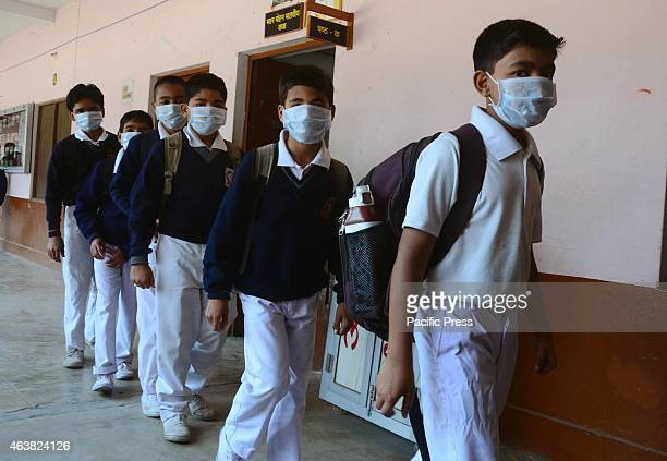 Students wearing masks to prevent getting infected by Swine flu as a girl infected by Swine flu at Indian Institute of Information Technology