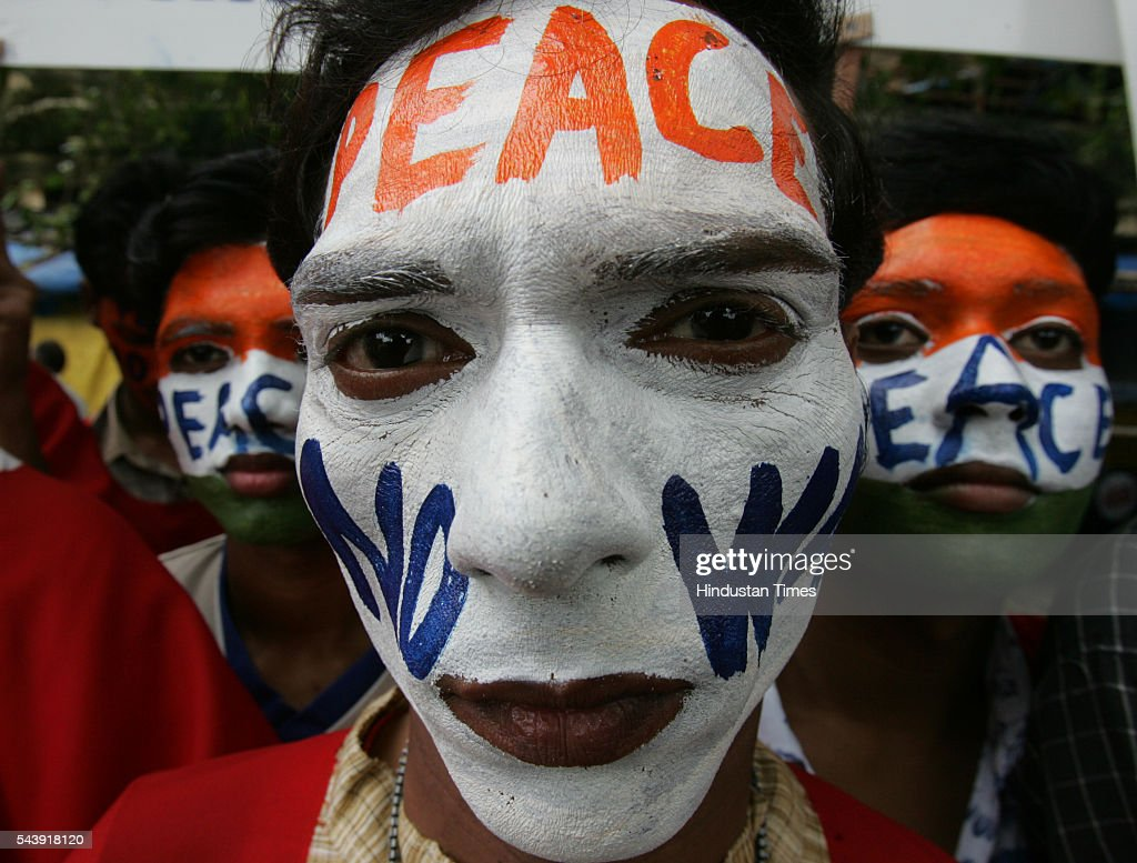Students with painted faces participate in an anti-nuclear Peace March to commemorate the 60th anniversary of the worlds first atomic bomb attack in Hiroshima at Azad Maidan.