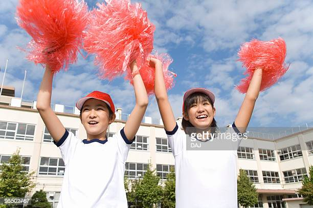 Students with pompoms
