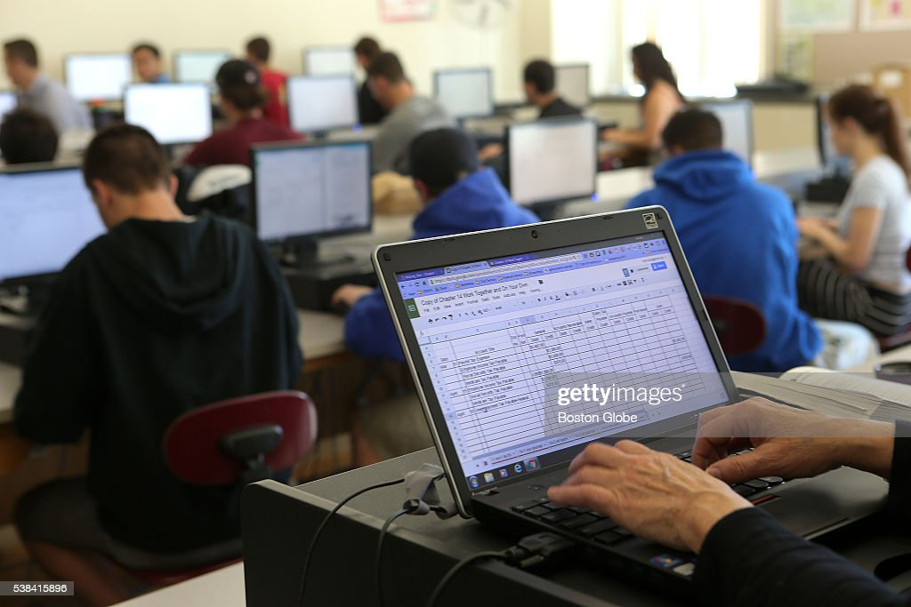 Students work on computers in a classroom at GrotonDunstable High School on May 11 2016 Business and communication teacher Barbara McNulty has a...
