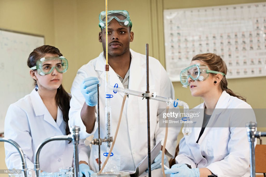 Students working in lab classroom : Stock Photo