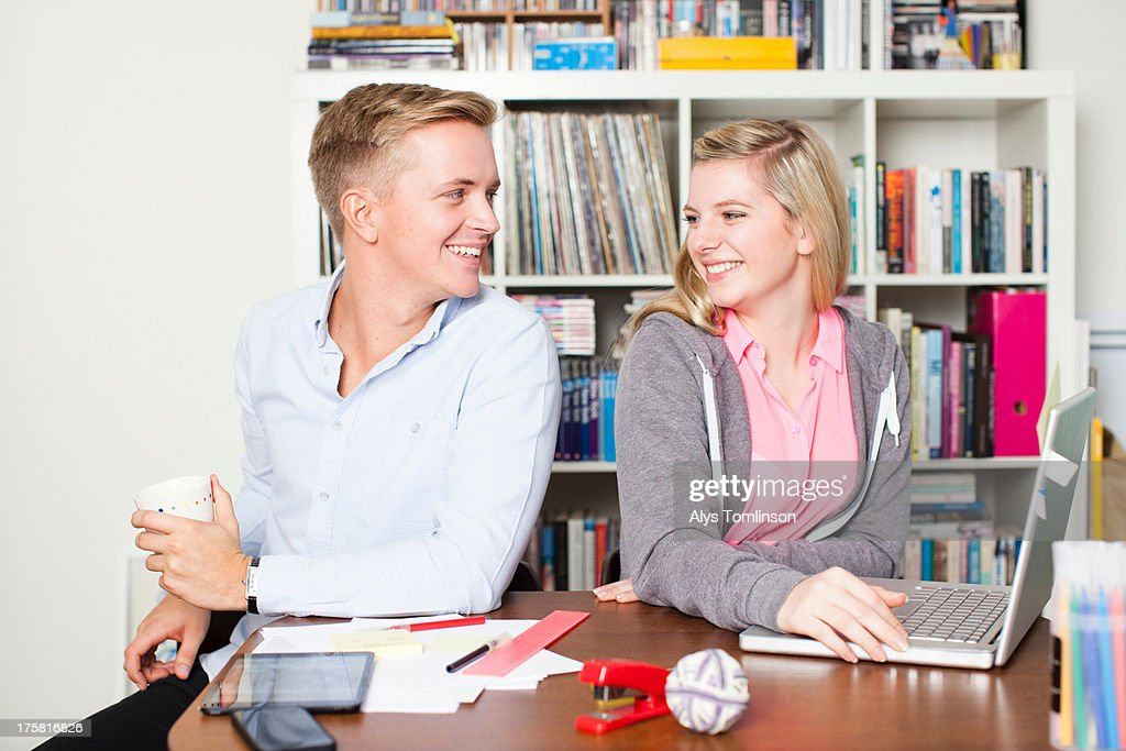 Students working on laptop : Stock Photo