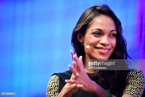 Studio 189 founder and actress Rosario Dawson gives an interview during the 2017 Web Summit in Lisbon on November 9 2017 Europe's largest tech event...