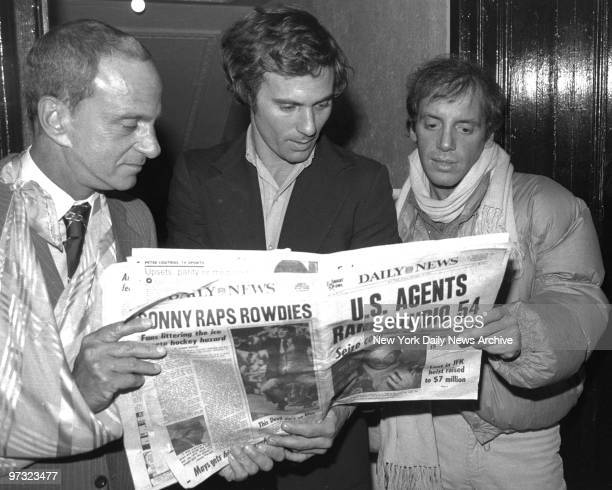 Studio 54 coowner Steve Rubell and lawyer Roy Cohn read Daily News story of raid on the disco by federal agents