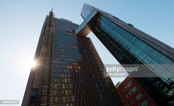 A studio bedroom inside the American Copper Building is seen at 626 First Avenue on March 17 2017 in New York The building is a dualtower residential...