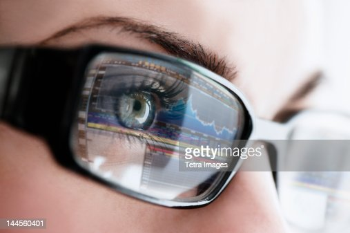 Studio close-up of woman wearing eyeglasses