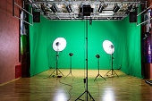 Studio for movies. Green screen. The chroma key. Lighting equipment in the pavilion. Show business.
