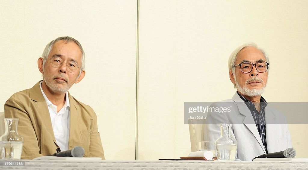 Studio Ghibli Producer Toshio Suzuki and animator/director <a gi-track='captionPersonalityLinkClicked' href=/galleries/search?phrase=Hayao+Miyazaki&family=editorial&specificpeople=732050 ng-click='$event.stopPropagation()'>Hayao Miyazaki</a> attend a press conference to announce the retirement of <a gi-track='captionPersonalityLinkClicked' href=/galleries/search?phrase=Hayao+Miyazaki&family=editorial&specificpeople=732050 ng-click='$event.stopPropagation()'>Hayao Miyazaki</a> on September 6, 2013 in Tokyo, Japan.