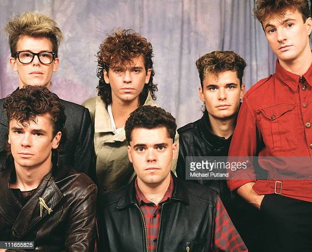 INXS studio group portrait circa 1983 London LR Kirk Pengilly Michael Hutchence Jon Farriss Garry Gary Beers Tim Farriss Andrew Farriss