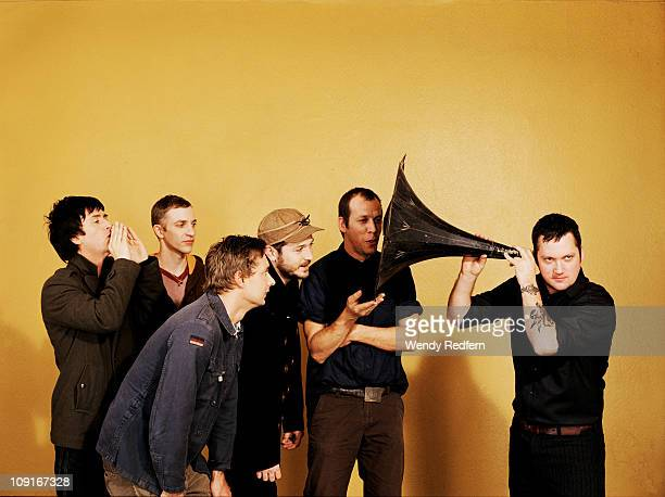A studio group portrait of US rock band Modest Mouse Johnny Marr Jeremiah Green Joe Plummer Eric Judy Tom Peloso Isaac Brock on 3rd November 2007 in...