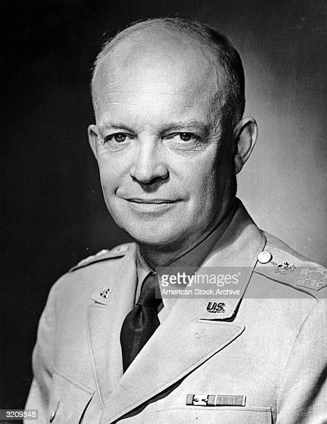 Studio headshot portrait of American General and the 34th President of the United States Dwight D Eisenhower
