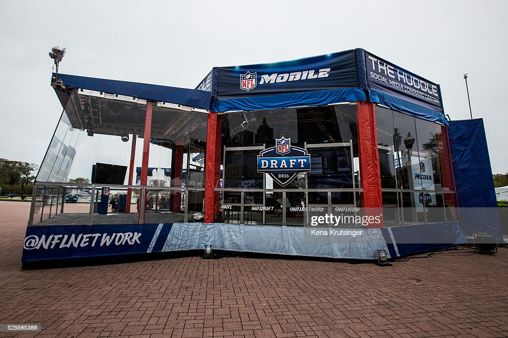 A studio is set up at the NFL Draft Town, prior to the start of the 2016 NFL Draft on April 28, 2016 in Chicago, Illinois.