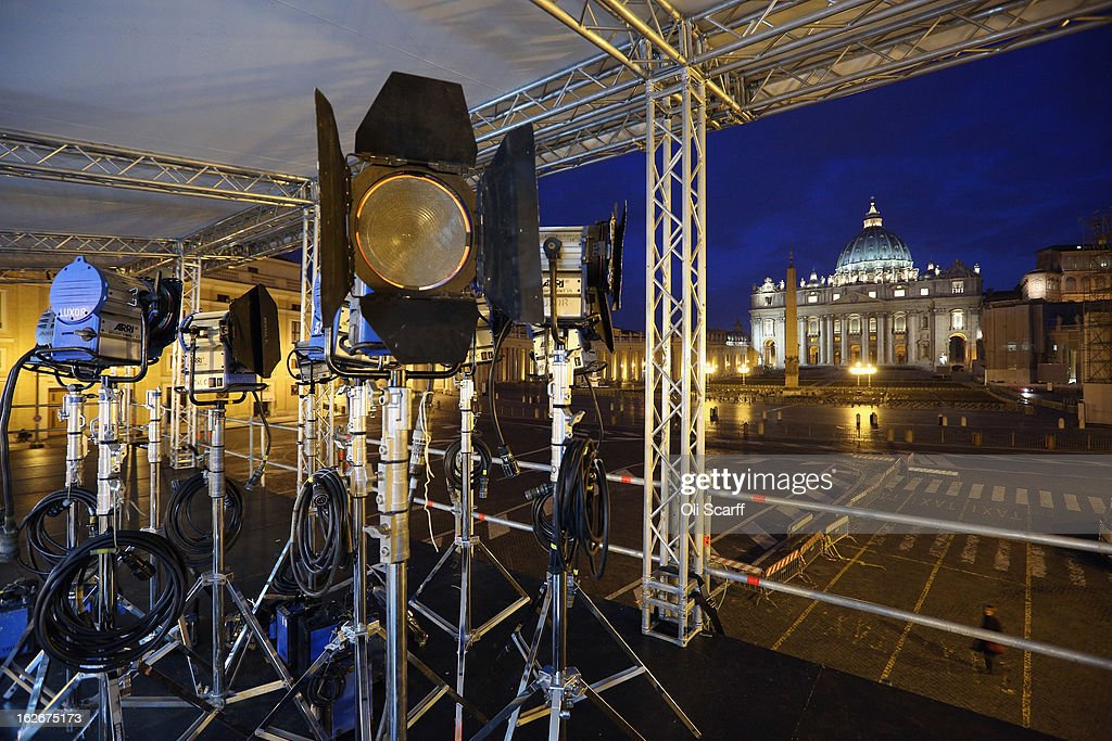 Studio lights used by television news crews on a temporary stand overlooking Saint Peter's Square ahead of Pope Benedict XVI's last public audience on February 26, 2013 in Rome, Italy. The Pontiff will hold his last weekly public audience on February 27, 2013 before he retires the following day. Pope Benedict XVI has been the leader of the Catholic Church for eight years and is the first Pope to retire since 1415. He cites ailing health as his reason for retirement and will spend the rest of his life in solitude away from public engagements.
