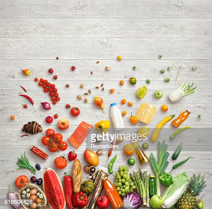 Studio photo of different fruits and vegetables : Stock Photo