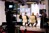 Recording live talk show at television studio