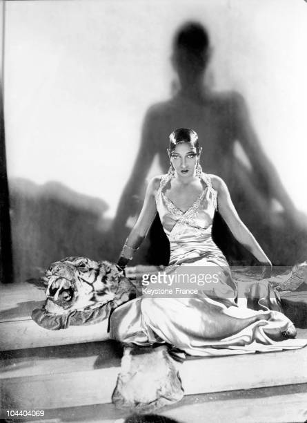 Studio portrait between 1925 and 1932 of the American musichall artist Josephine BAKER in which she is seated on a tiger skin It was during this time...