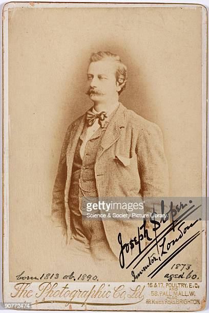 Studio portrait by The Photographic Co Ltd of Joseph Sloper builder and decorator and inventor of the perforation process His perforating machine...