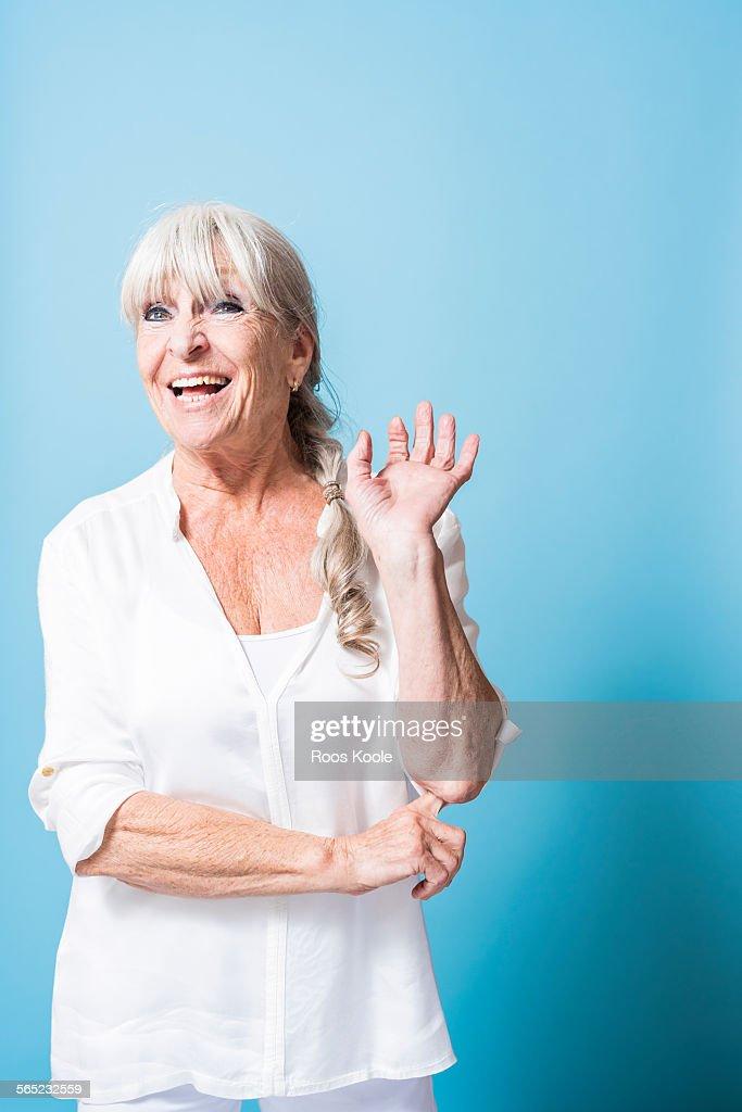 Studio portrait of a vibrant senior woman