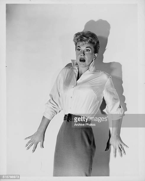 Studio portrait of actress Doris Day looking scared circa 1960