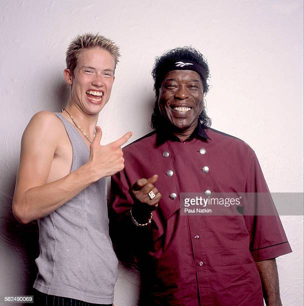 Studio portrait of American Blues musicians Jonny Lang and Buddy Guy Chicago Illinois August 2 1998