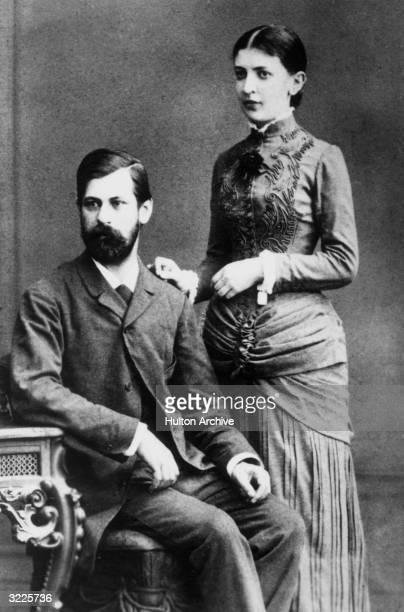 Studio portrait of Austrian psychoanalyst Sigmund Freud and his fiancee Martha Bernays during their engagement