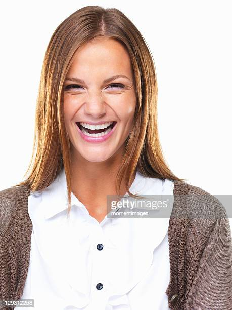 Studio portrait of beautiful business woman laughing