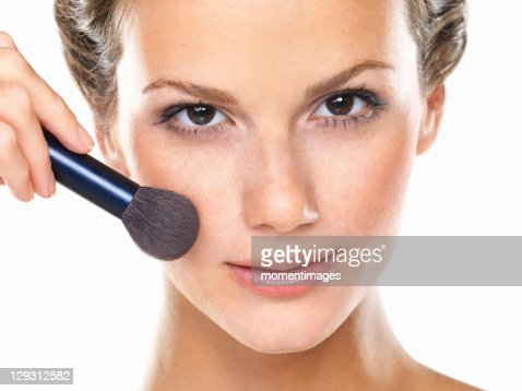 Studio Portrait Of Beautiful Woman Blushing Cheeks Stock Photo ...
