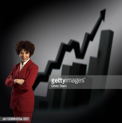 Studio portrait of businesswoman with graphs behind