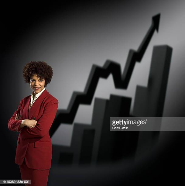 Studio portrait of businesswoman with graphs behind
