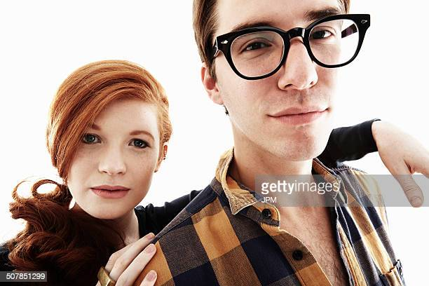 Studio portrait of cool young couple