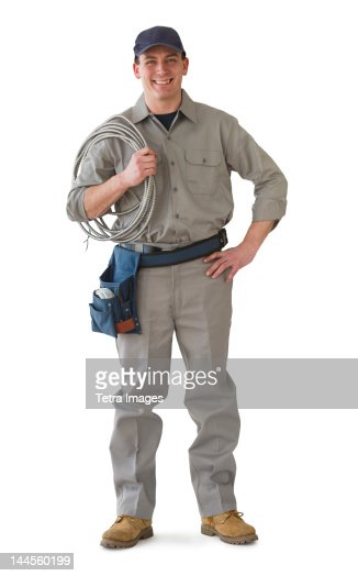 Studio portrait of electrician
