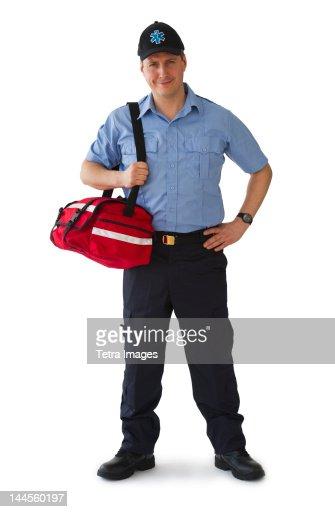Studio portrait of emergency medical technician