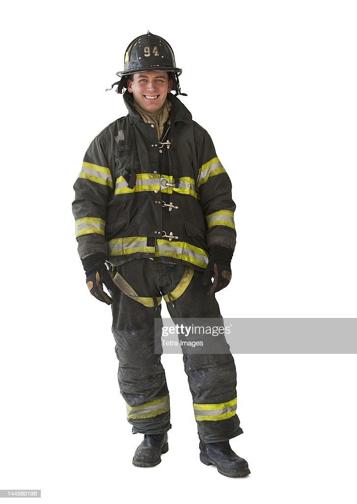 Studio portrait of firefighter