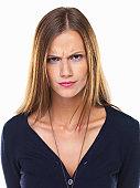 Studio portrait of irritated woman