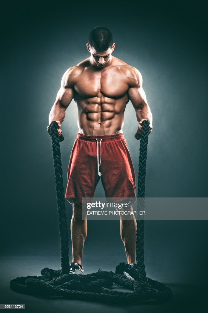 Studio portrait of male fitness athlete : Stockfoto