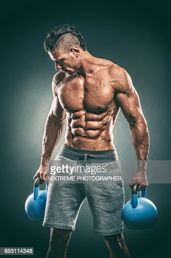 Studio portrait of male fitness athlete : Stock-Foto