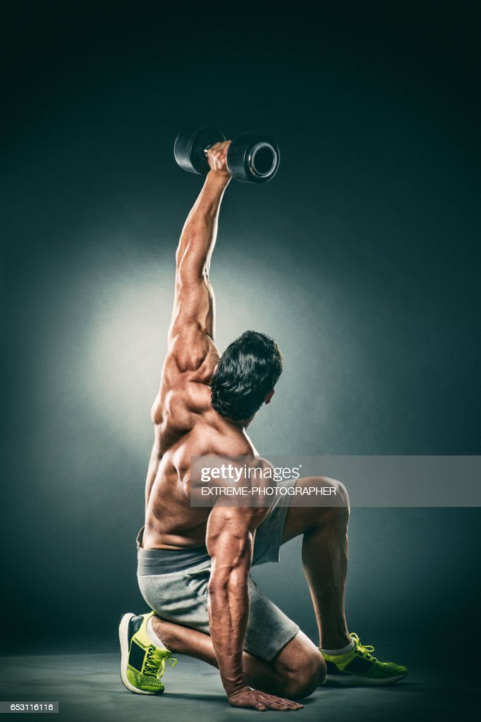 Studio portrait of male fitness athlete : Bildbanksbilder