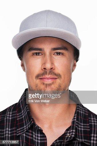 studio portrait of man on white background