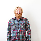 Studio portrait of man with beard
