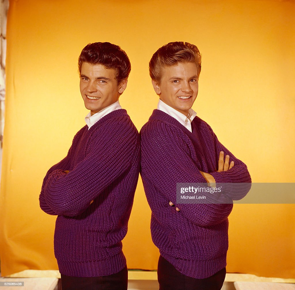Studio portrait of pop celebrity musicians the Everly Brothers, Phil (right) and Don.