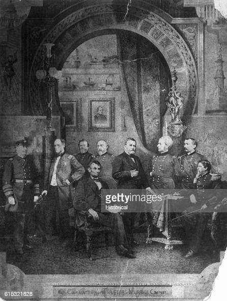 Studio portrait of President Abraham Lincoln with his most capable military leaders during the American Civil War From left to right are Admiral...
