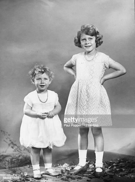 Studio portrait of Princess Elizabeth and Princess Margaret in July 1932